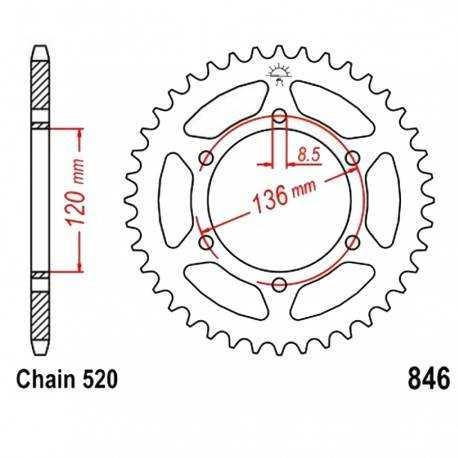 Corona Negra 39 dientes - División 520 - Yamaha RD350